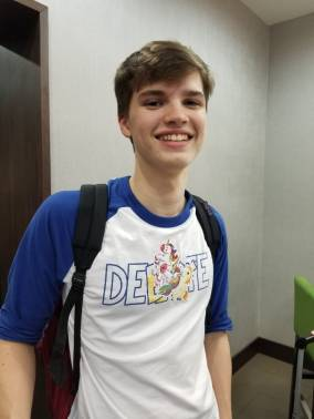 Daniel Shepard (soph) is happy to get off the bus!